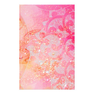ABSTRACT WAVES / GOLD PINK SPARKLES AND SWIRLS STATIONERY
