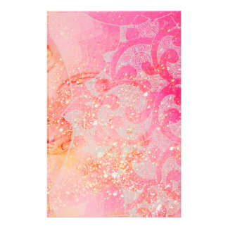 ABSTRACT WAVES / GOLD PINK SPARKLES,FLORAL SWIRLS STATIONERY