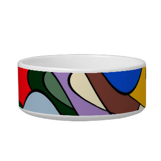 Abstract Waves Cat Bowl