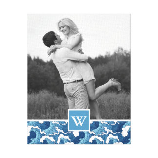 Abstract Waves | Photo with Monogram Canvas Print