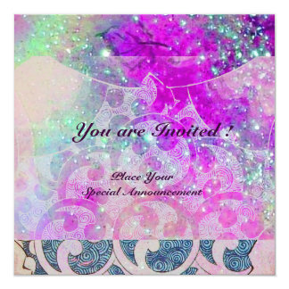 ABSTRACT WAVES Teal Blue,Purple Pink Wedding Card