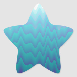 Abstract Waves Turquoise Blue Star Sticker