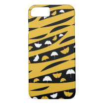 Abstract Waves with White and Yellow Ginkgo Leaves iPhone 8/7 Case