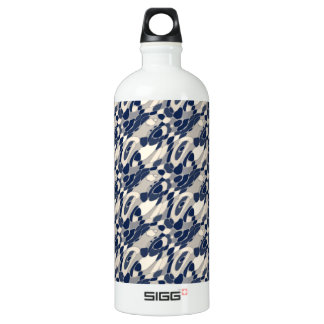Abstract Wavy Blue & Beige Water Bottle