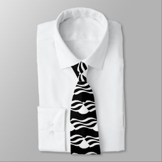 abstract wavy stripes design black and white tie