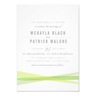 "Abstract Wedding Invite - Green 5"" X 7"" Invitation Card"