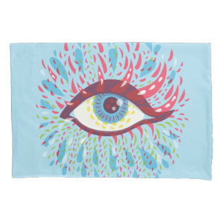 Abstract Weird Blue Psychedelic Eye Pillow Case
