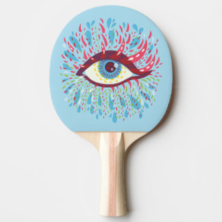 Abstract Weird Blue Psychedelic Eye Ping Pong Paddle