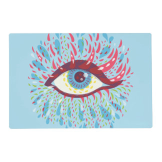 Abstract Weird Blue Psychedelic Eye Placemat