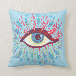 Abstract Weird Blue Psychedelic Eye Throw Pillow