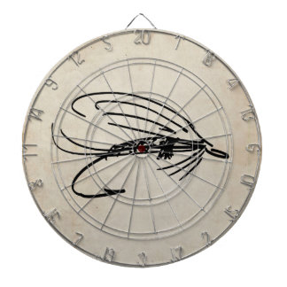 Abstract Wet Fly Lure Dartboard With Darts