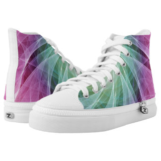Abstract Whirlpool in Purple and Green High-Top Sneakers