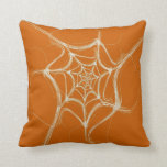 Abstract White and Oranage Fractal Pillow