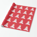 Abstract White Christmas Tree on Red Gift Wrap Paper