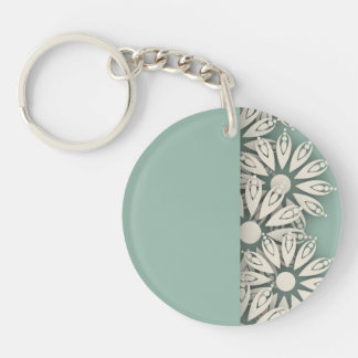 Abstract White Cut Out Flowers Keychain