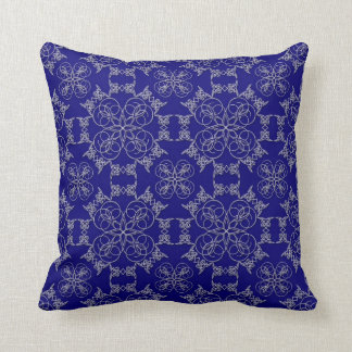 Abstract White Embroidery on Prussian Blue Pillow