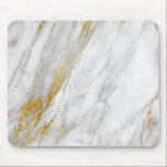 "Abstract White Gray Carrara Gold Marble Mouse Pad<br><div class=""desc"">Modern Abstract Contemporary Design 