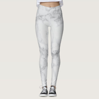 Abstract White Gray Marble Design Pattern Leggings