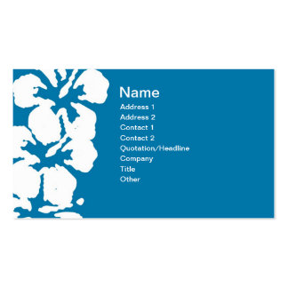 Abstract White Hibiscus Flowers on Blue Double-Sided Standard Business Cards (Pack Of 100)