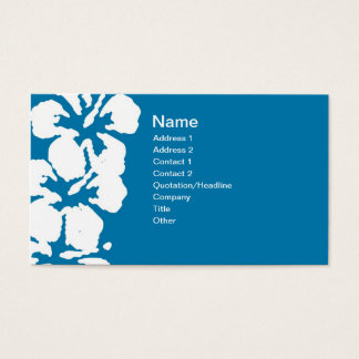 Abstract White Hibiscus Flowers on Blue Business Card