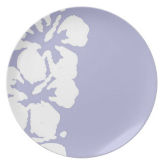 Abstract White Hibiscus Flowers on Lavender Dinner Plate