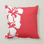 Abstract White Hibiscus Flowers on Red Pillows
