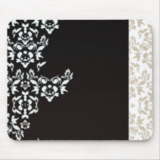 Abstract white & light brown floral valentine gift mouse pad