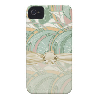 abstract white lily art nouveau pattern art iPhone 4 Case-Mate case