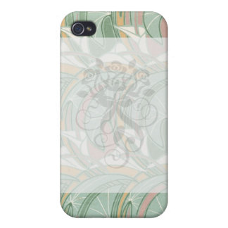 abstract white lily art nouveau pern art iPhone 4 case