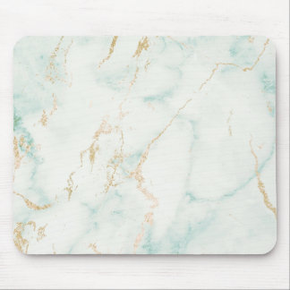 Abstract White Mint Green Gold Marble Mouse Pad
