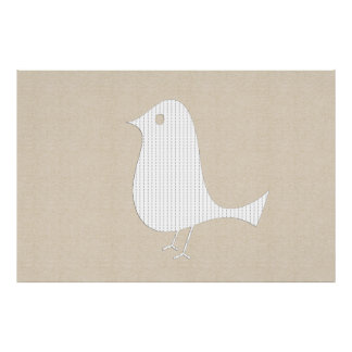 Abstract White Paper Bird Soft Linen Collage Poster