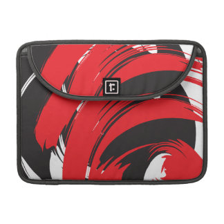 Abstract White Red Black Strokes Rickshaw Flap Sle Sleeve For MacBook Pro