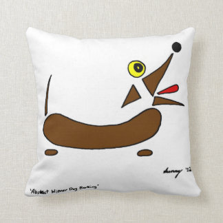 Abstract Wiener Dog Pillow - Black