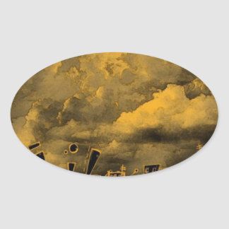Abstract Wild City Oval Sticker