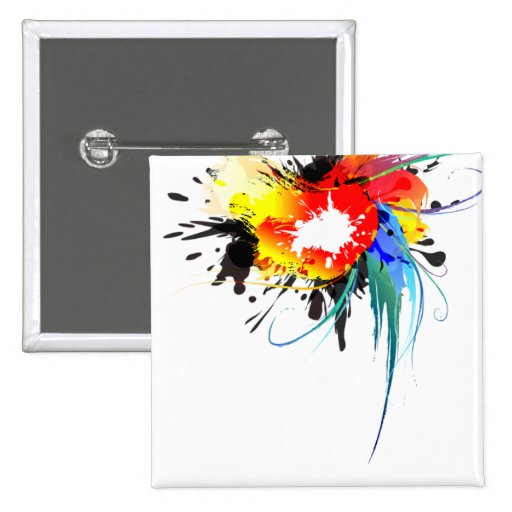 Abstract Wild Parrot Paint Splatters 2 Inch Square Button