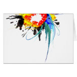 Abstract Wild Parrot Paint Splatters Greeting Card