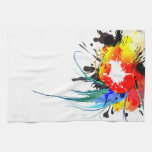 Abstract Wild Parrot Paint Splatters Hand Towel