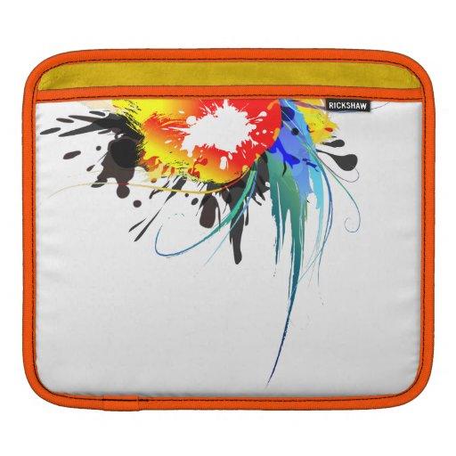 Abstract Wild Parrot Paint Splatters iPad Sleeves