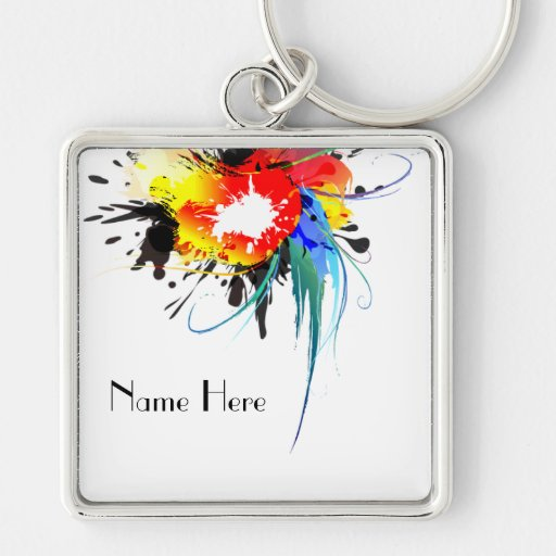 Abstract Wild Parrot Paint Splatters Key Chain