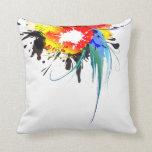 Abstract Wild Parrot Paint Splatters Pillows