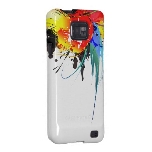 Abstract Wild Parrot Paint Splatters Samsung Galaxy SII Cases