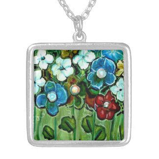 Abstract Wildflower Art Print Necklace Jewelry