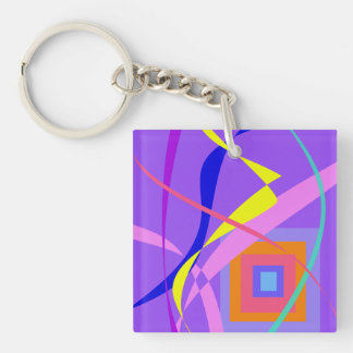 Abstract Wind and a Window Double-Sided Square Acrylic Keychain