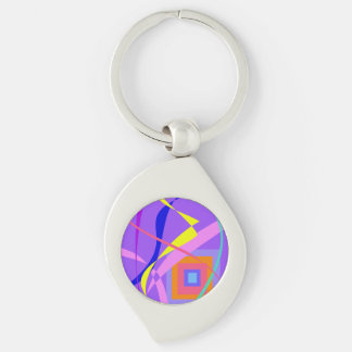 Abstract Wind and a Window Silver-Colored Swirl Metal Keychain
