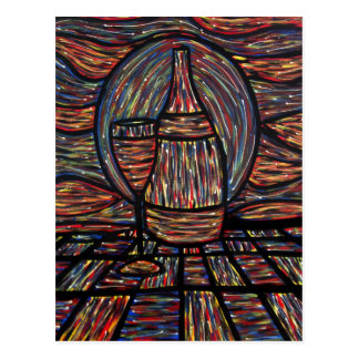 Abstract Wine Bottle & Wine Glass Art Postcard