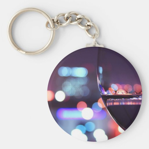 Abstract Wine Glass Basic Round Button Keychain