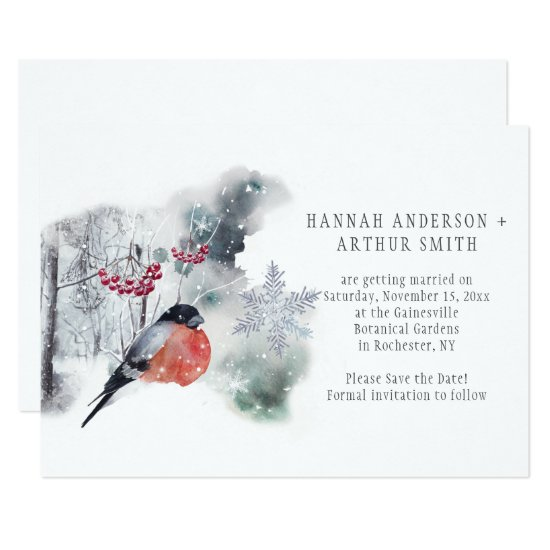 Abstract Winter Scene Bullfinch Save the Date Invitation