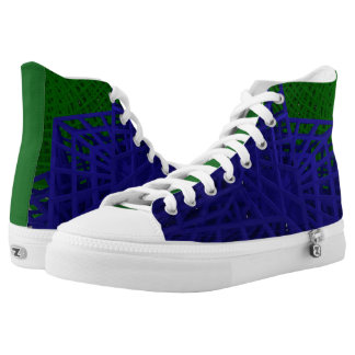 Abstract Wire Frame Box and Sphere Spin High-Top Sneakers