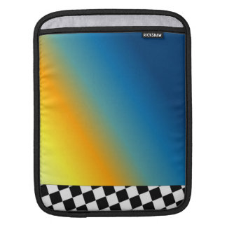 Abstract With Black and White Checkered Border iPad Sleeve