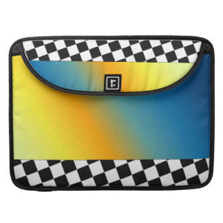 Abstract with Black and White Checkered Pattern Sleeves For MacBooks